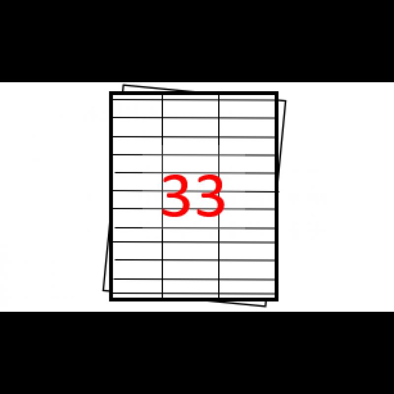 Etiquetas autoadesivas Folha A4 - 33 etiquetas por folha