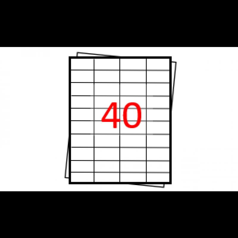Etiquetas autoadesivas Folha A4 - 40 etiquetas por folha